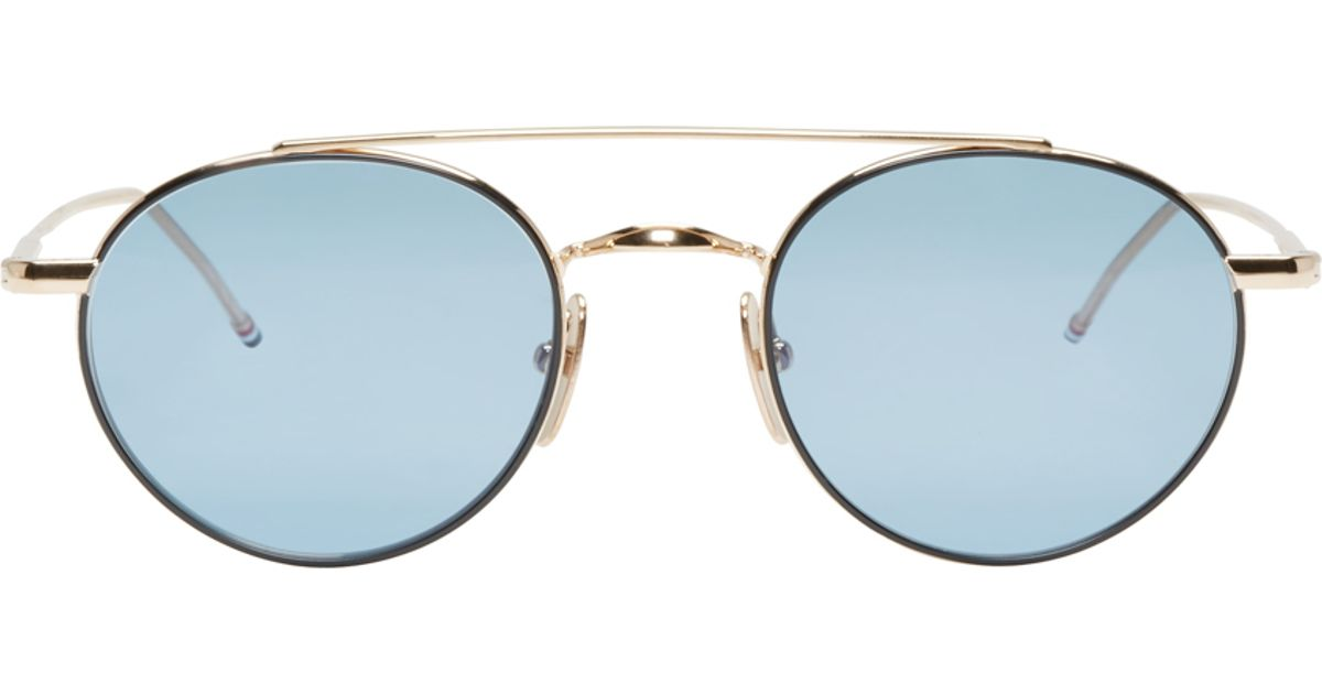 64ea917e9ddc Thom Browne Blue And Gold Tb-101 Sunglasses in Blue for Men - Lyst