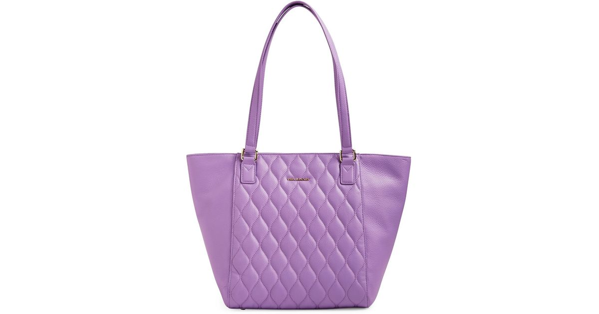 Vera Bradley Ella Small Quilted Leather Tote In Purple Lyst