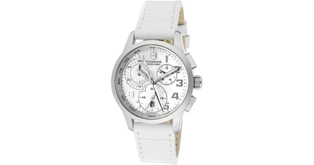 Lyst - Swiss Army Women s Alliance Chronograph White Mother Of Pearl Dial  White Leather in White 49e52c5ef4