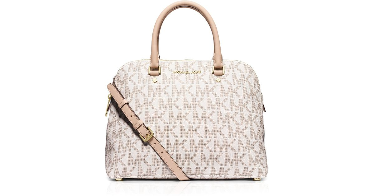 01ce3dfed965 ... closeout lyst michael michael kors satchel large cindy mk signature dome  in white a8fae d044a