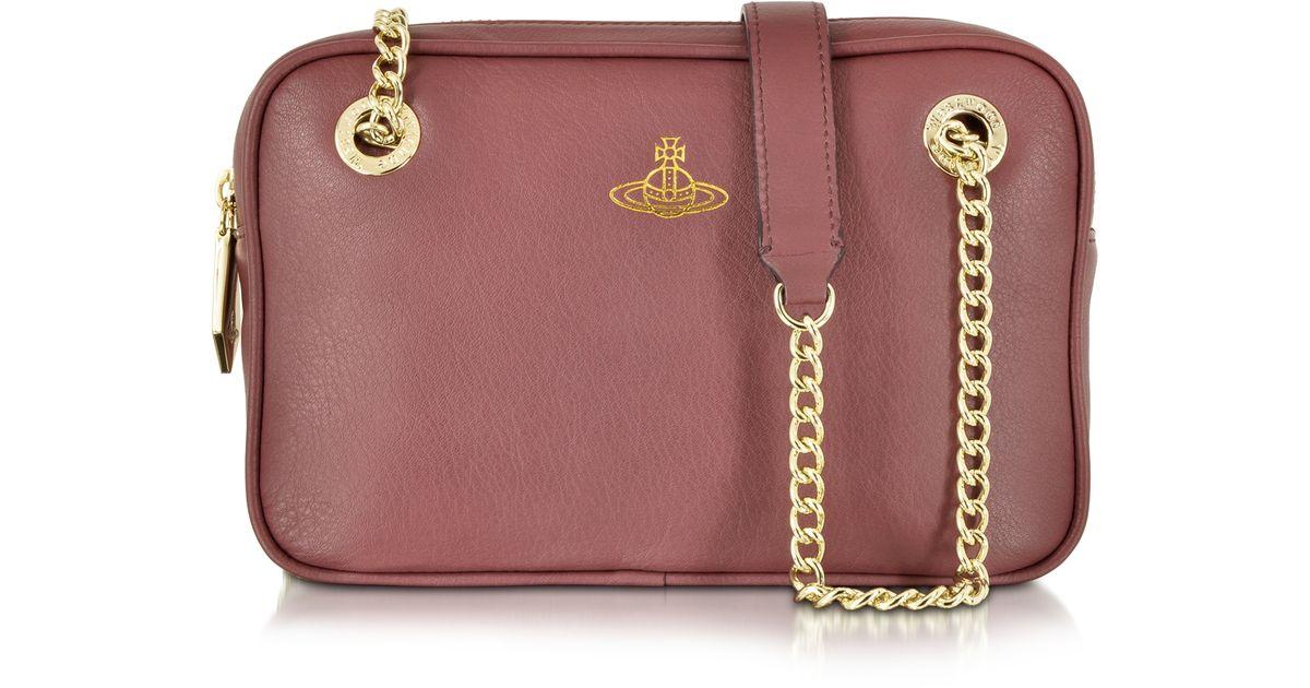 68eea0e411ca Lyst - Vivienne Westwood Spencer Bordeaux Leather Shoulder Bag in Pink