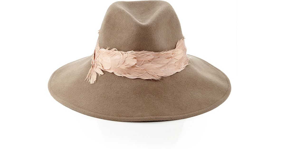 a4d4df9fb50c8 Eugenia Kim Emmanuelle Top Hat With Feather Band in Brown - Lyst