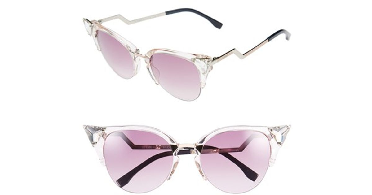 b3d867216 Fendi Crystal 52mm Tipped Cat Eye Sunglasses - Light Pink in Pink - Lyst
