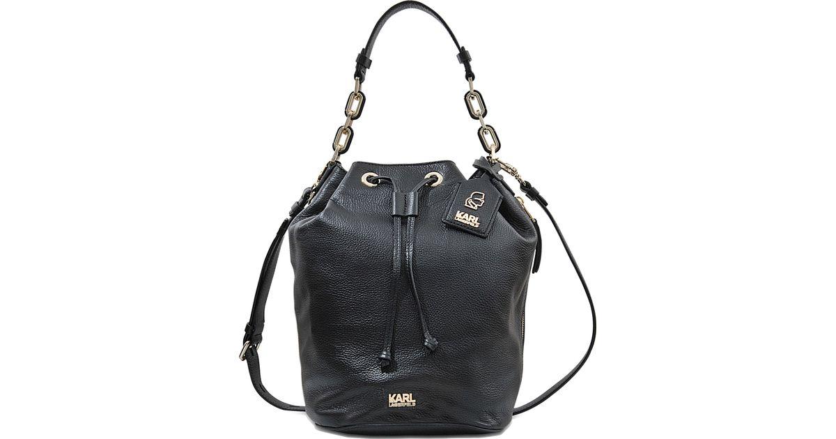 Lyst Karl Lagerfeld K Grainy Bucket Bag In Black