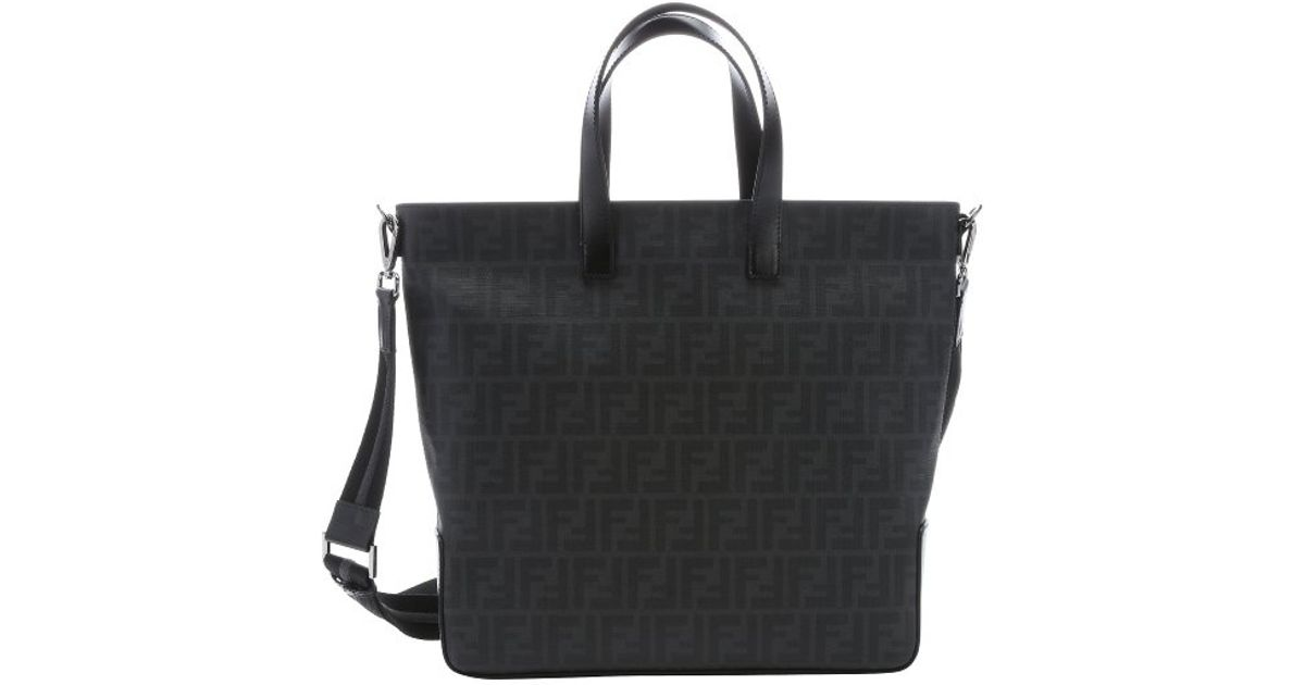 ... cheapest lyst fendi black leather and zucca canvas top handle  convertible tote in black for men 9199a77b7f981