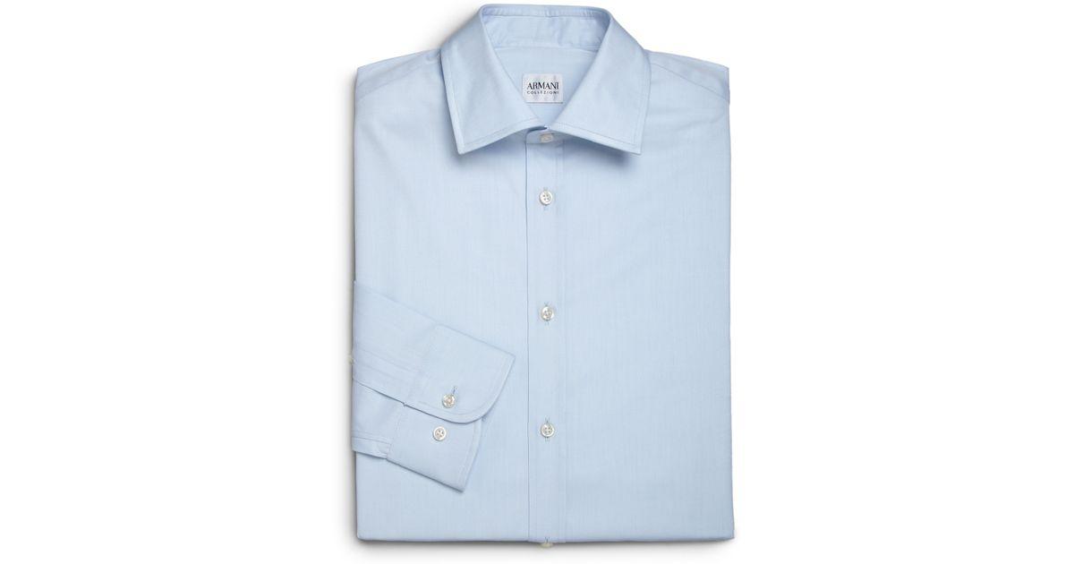 Armani modern fit cotton dress shirt in blue for men lyst for Modern fit dress shirt