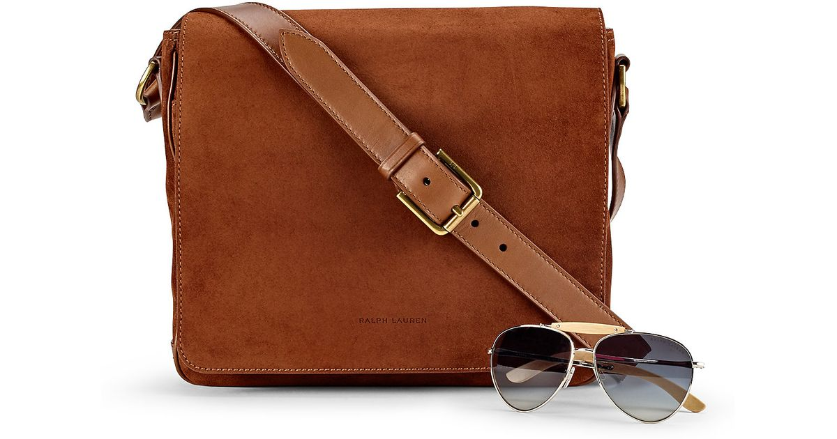 Pink pony Suede Messenger Bag in Brown for Men | Lyst