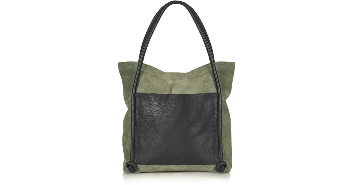 c2af9bf7980 Lyst - TOPSHOP Leather Knot Shopper Bag in Green