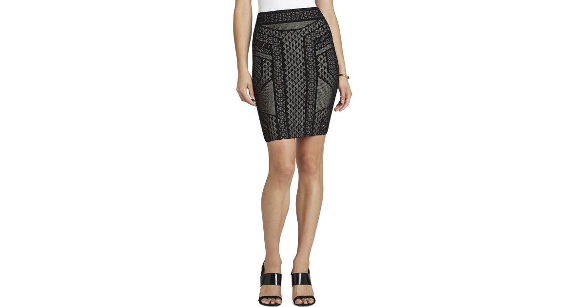 7b682f25e BCBGMAXAZRIA Josa Geometric Relief Jacquard Skirt in Black - Lyst