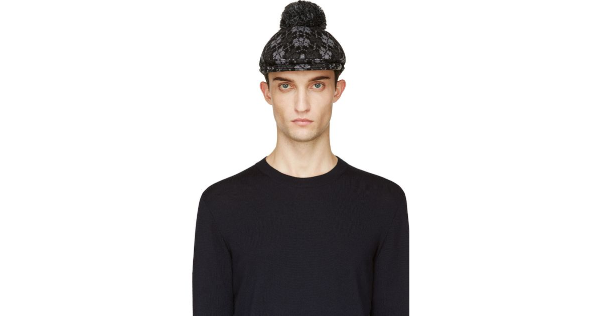 Lyst - Moncler Gamme Bleu Black and Grey Argyle Pompom Golf Cap in Black  for Men 69da7ce3f1b