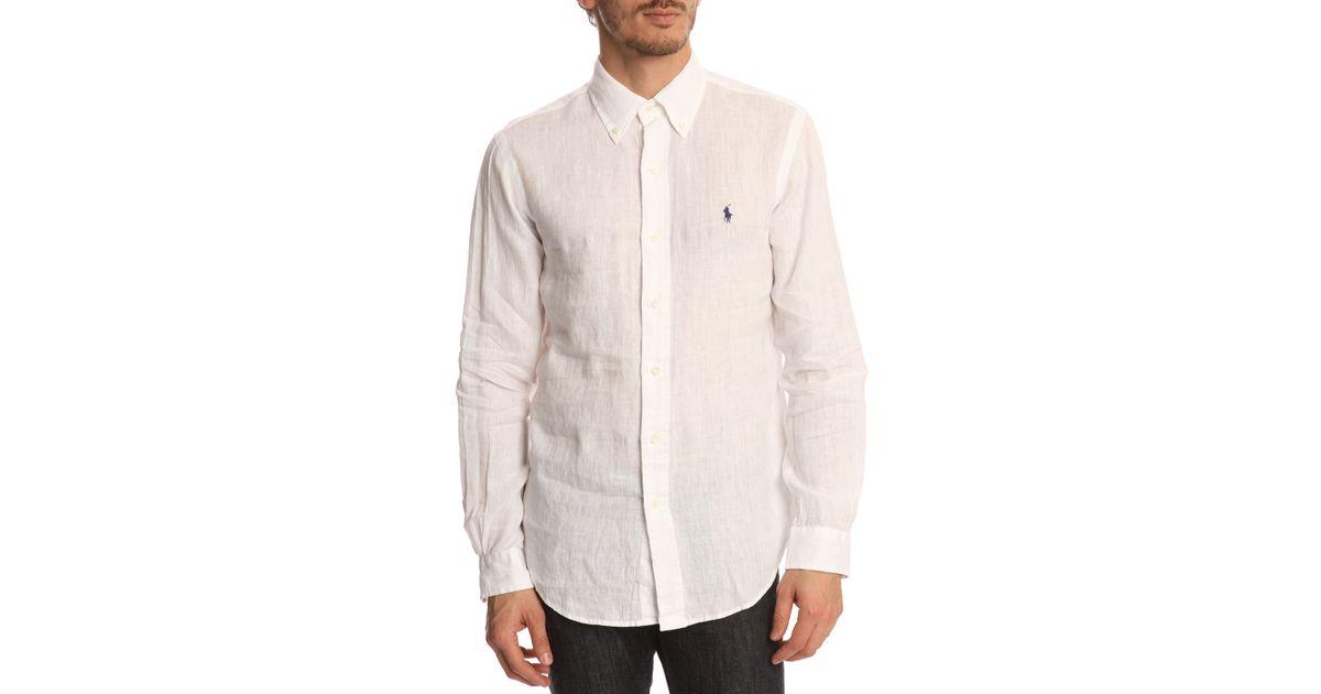 Polo Ralph Lauren Slim Fit White Linen Shirt In White For