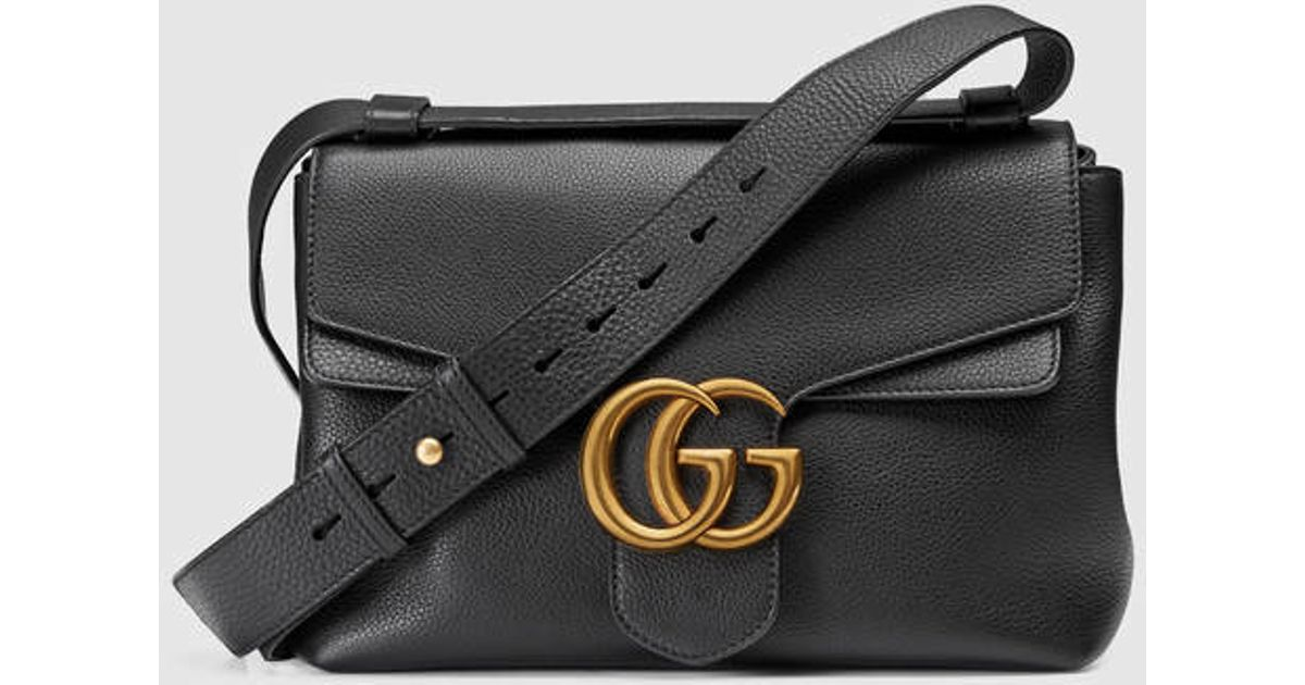 b9a8752ba534 Lyst - Gucci Gg Marmont Leather Shoulder Bag in Black