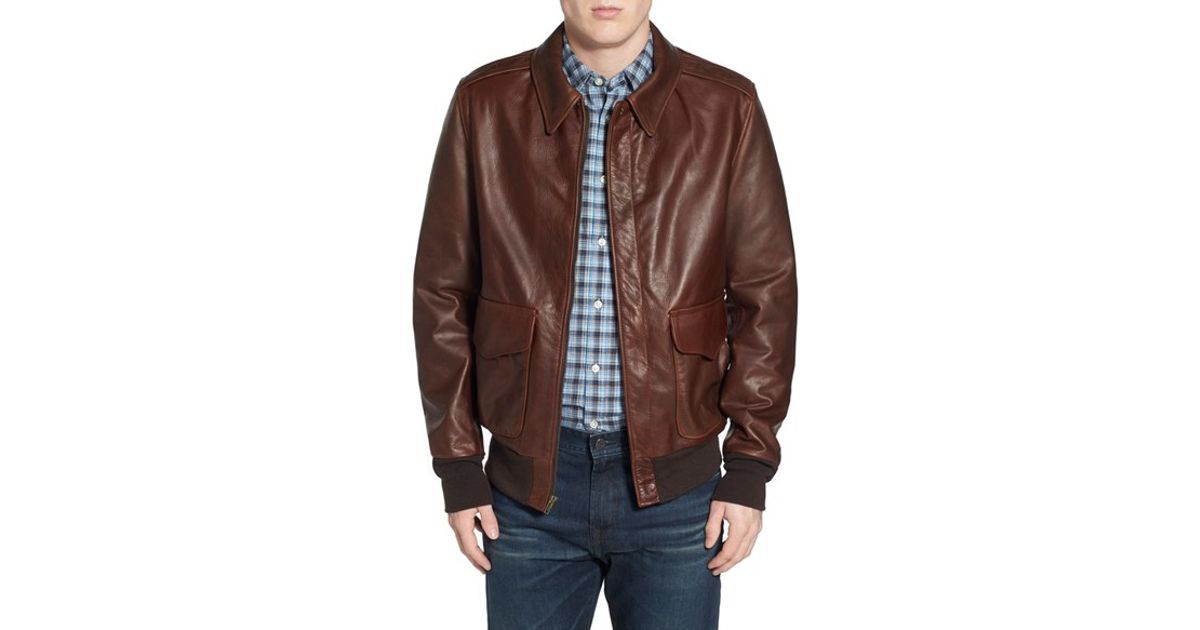 schott nyc 39 a 2 39 pebbled leather bomber jacket in brown for men lyst. Black Bedroom Furniture Sets. Home Design Ideas