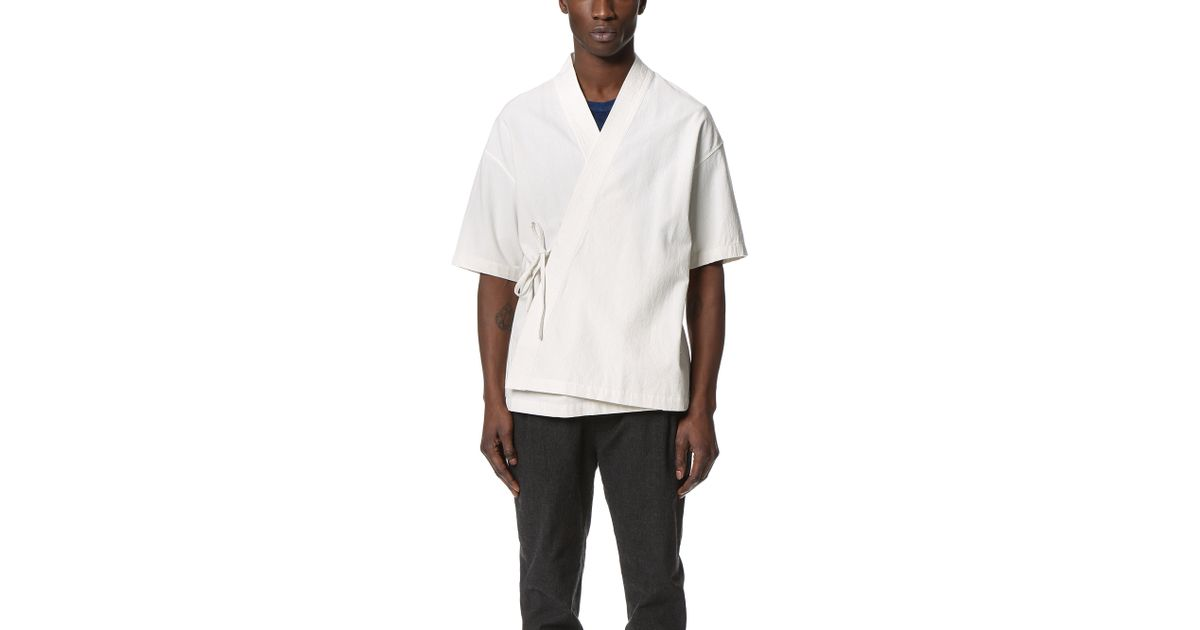 7bd633e46da17 Lyst - Shades of Grey by Micah Cohen Short Sleeve Side Tie Kimono in White  for Men