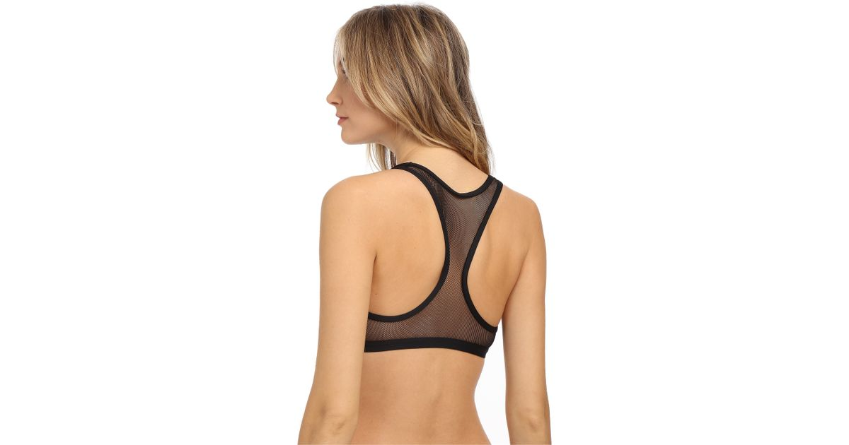 72a3b082ca Lyst - Vince Camuto Shore Side Mesh Racerback Crop Top W  Removable Soft  Cups in Black
