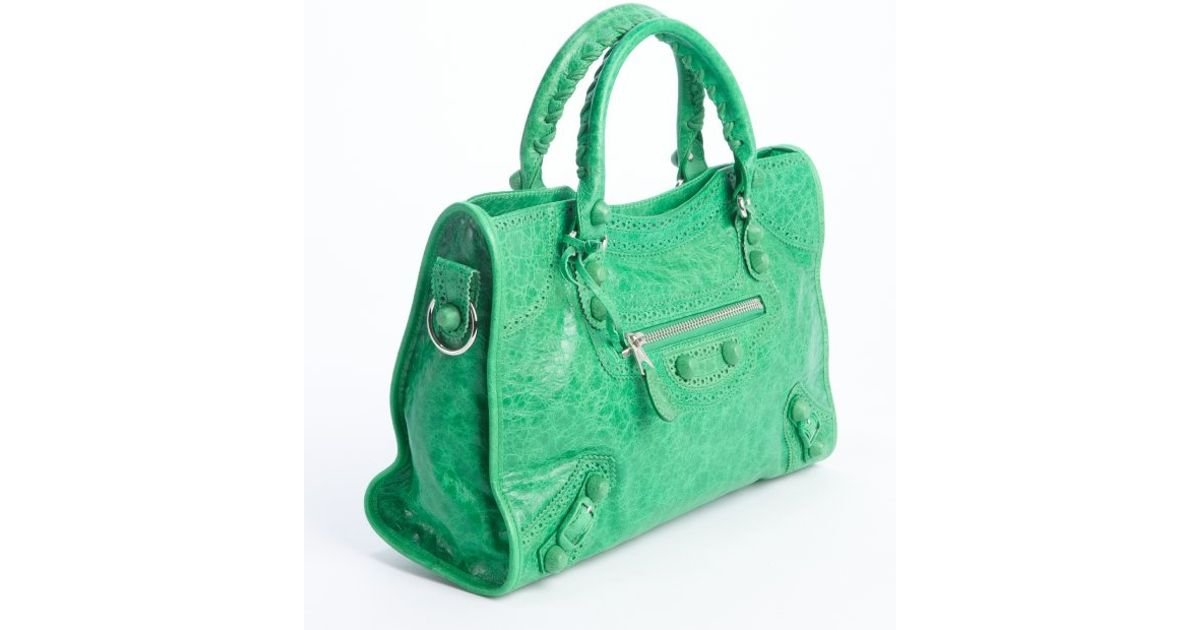 1db057f05a Lyst - Balenciaga Green Lambskin Tooled Part Time Convertible Bag in Green