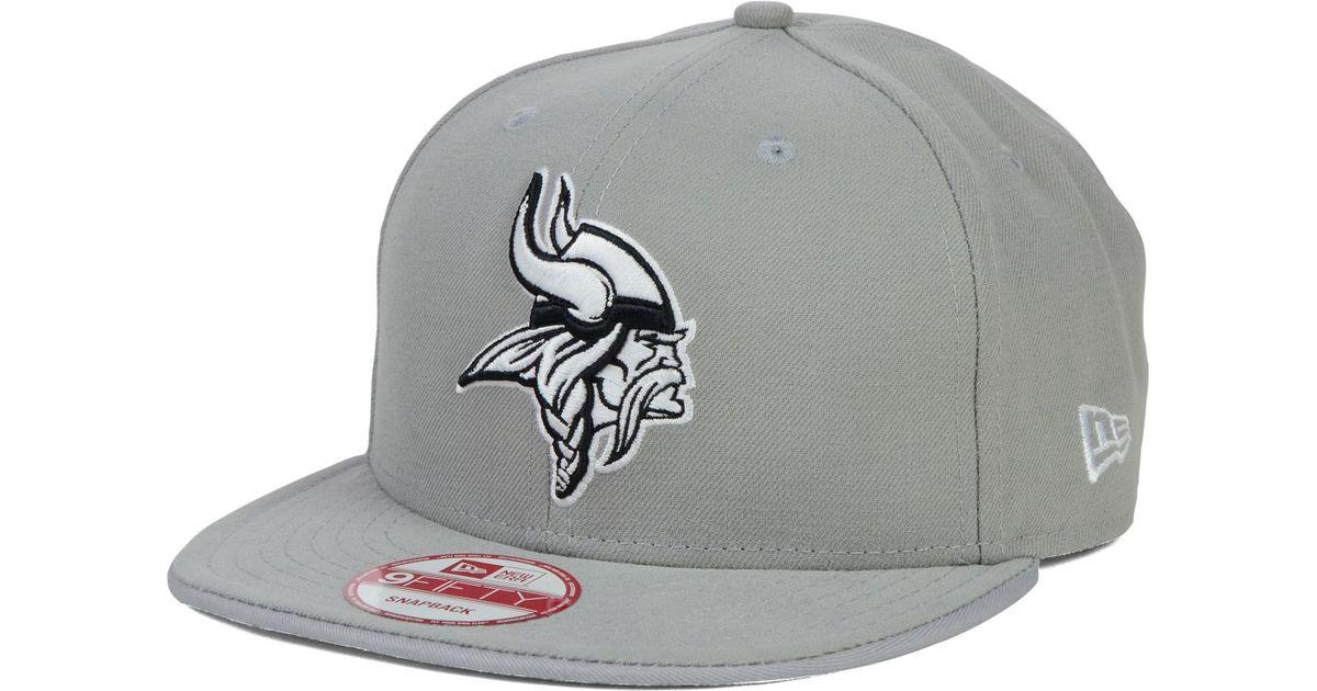 Lyst - KTZ Minnesota Vikings Gray Black White 9Fifty Snapback Cap in Gray  for Men 2b2c49e0148