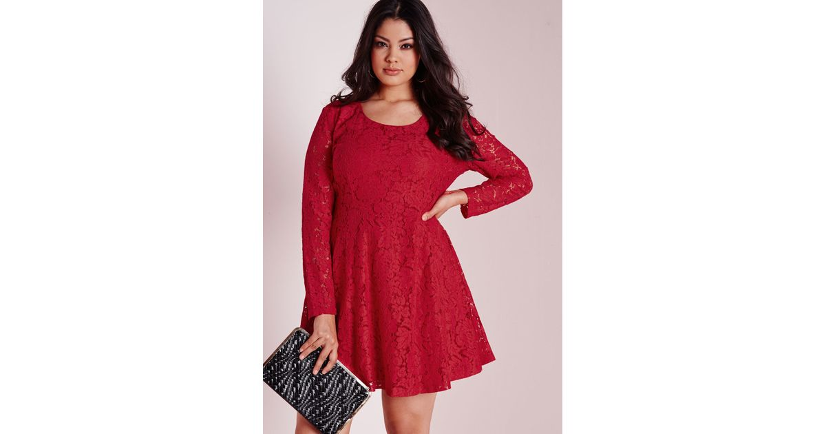 Lyst Missguided Plus Size Lace Skater Dress Red In Red