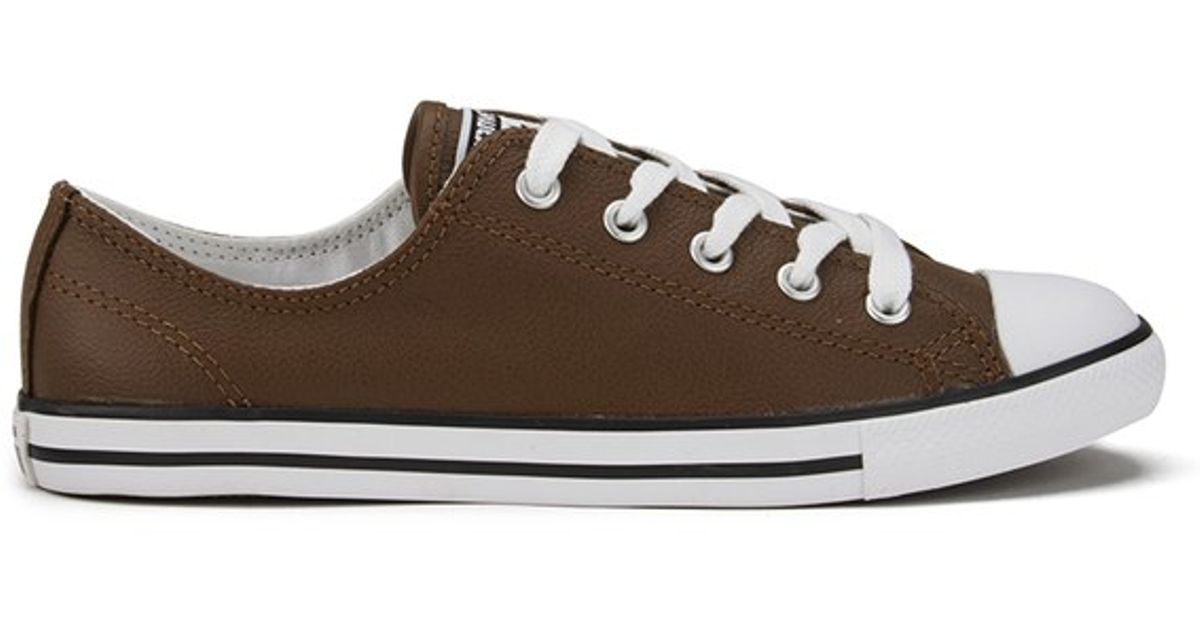 Converse Brown Women's Chuck Taylor All Star Dainty Seasonal Leather Ox Trainers