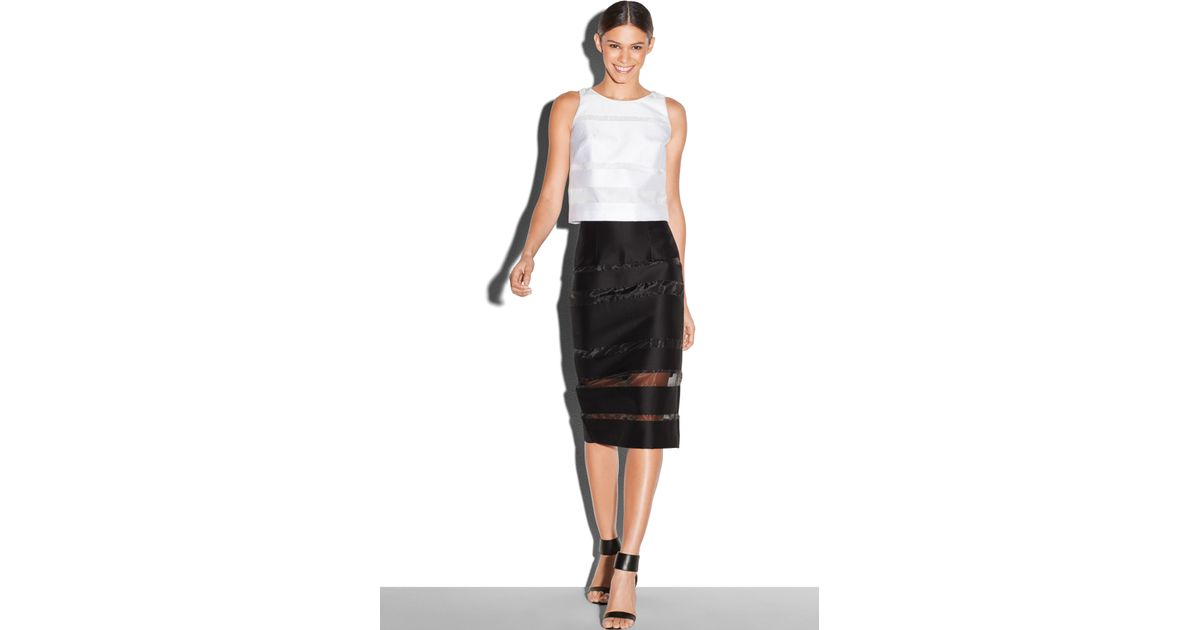 1b0a131d1f5c MILLY Stripes Fil Coupe Midi Skirt in Black - Lyst