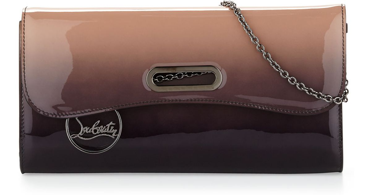 Lyst Louboutin Riviera Patent Degrade Evening Clutch Bag In Brown