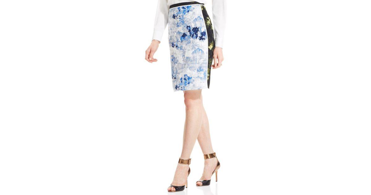 9423ec00ce Lyst - Ivanka Trump Multiprint Colorblock Pencil Skirt in Blue