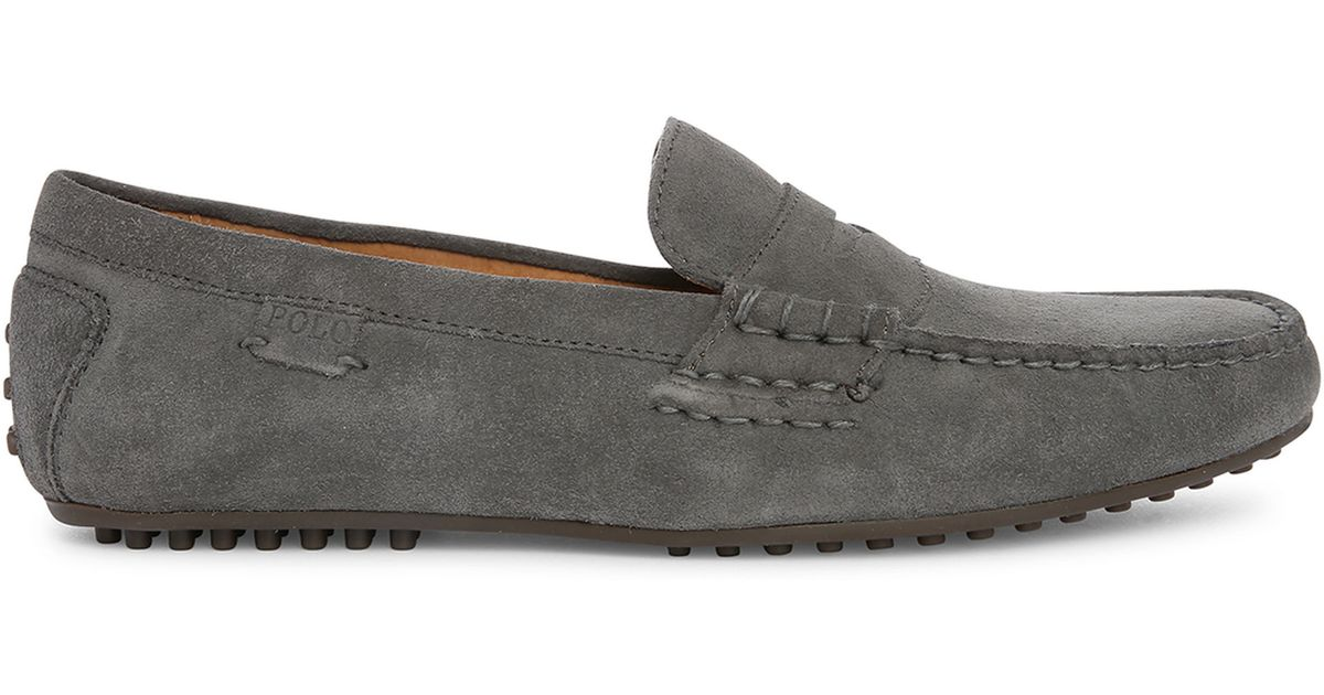 polo ralph grey wes suede slip on in gray for