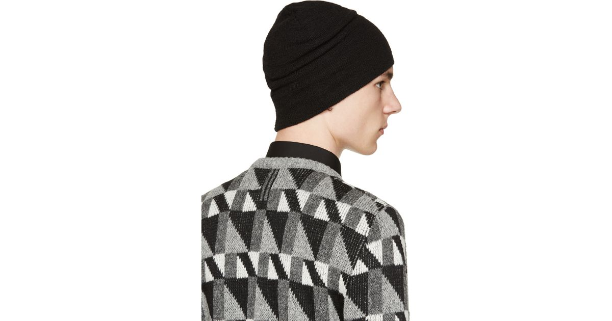 bfbfbc184f5 Lyst - Saint Laurent Black Wool Knit Beanie in Black for Men
