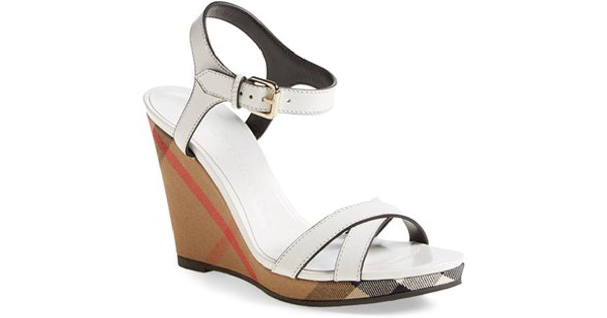 - Burberry 'rastrickson' Wedge Sandal In White Lyst
