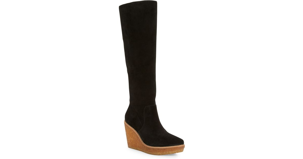 vince camuto signature willoo suede wedge boots in black