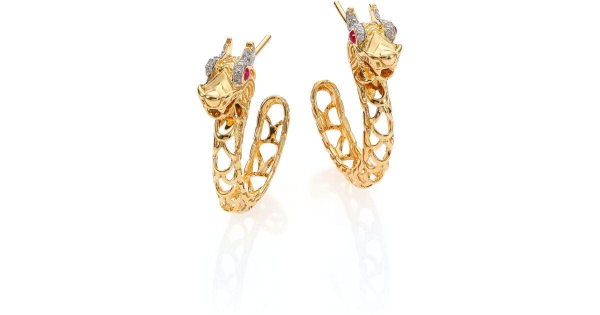 Lyst John Hardy Naga Diamond Ruby 18k Yellow Gold Dragon Hoop Earrings 0 6 In Metallic