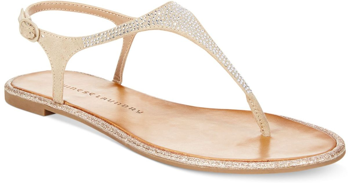 Lyst - Chinese Laundry Glam Rock Flat Thong Sandals in Natural ca2951fdaeaa