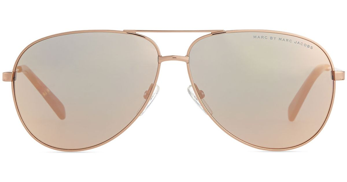 781e68eab44bd Lyst - Marc By Marc Jacobs Rose Golden Aviator Sunglasses With Mirror Lens  in Metallic