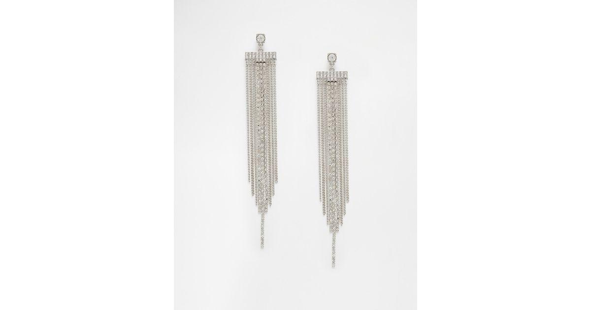 Lipsy Crystal Statement Fringe Earrings in Metallic   Lyst
