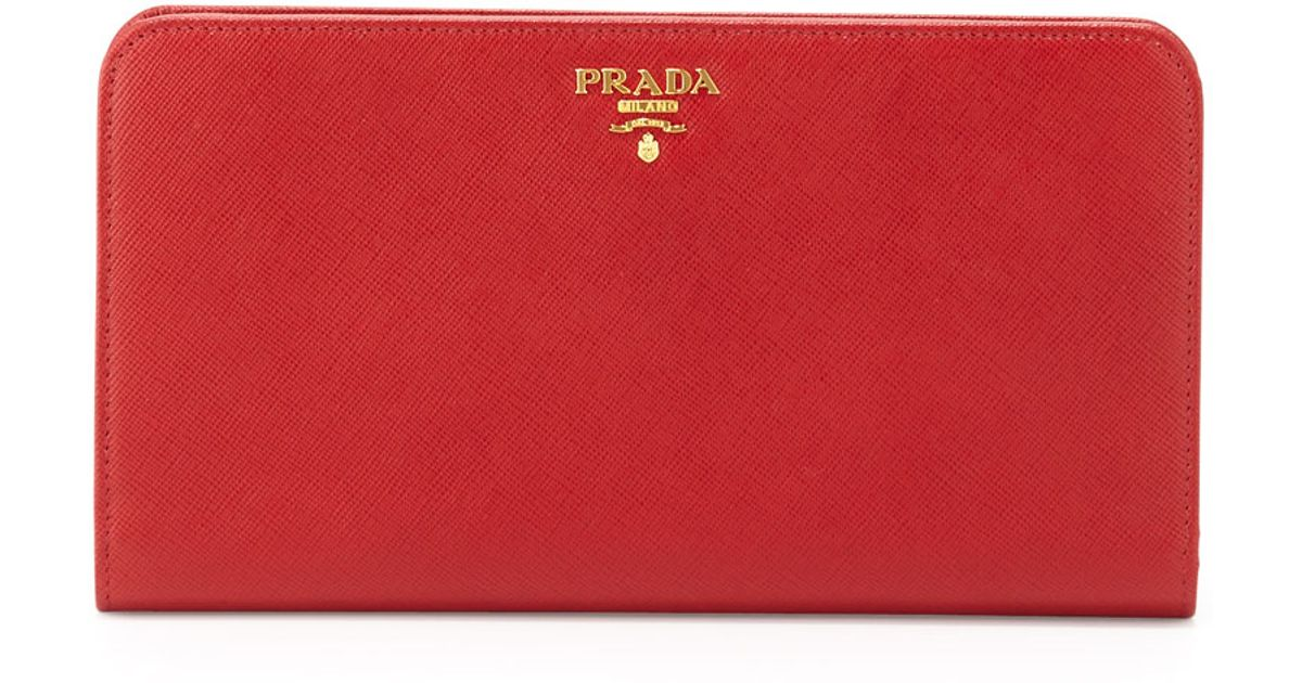 a1c2f09552f020 Prada Large Saffiano Travel Wallet in Red - Lyst