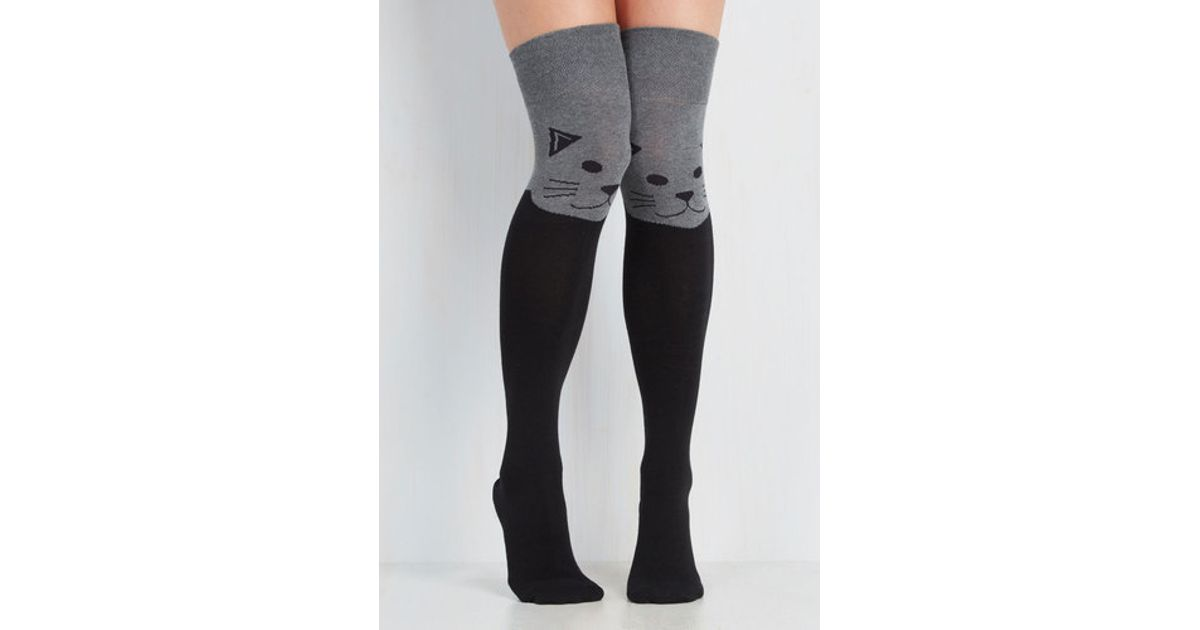36d4e64079adb Lyst - Socksmith Fur The Win Thigh Highs In Cat in Gray