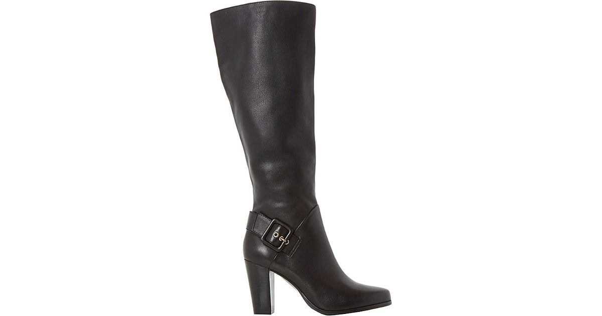 dune sydney side buckle knee high boots in black lyst