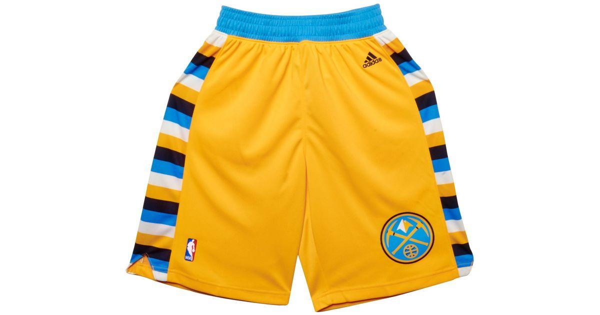 lyst adidas denver nuggets swingman shorts in yellow for men rh lyst com
