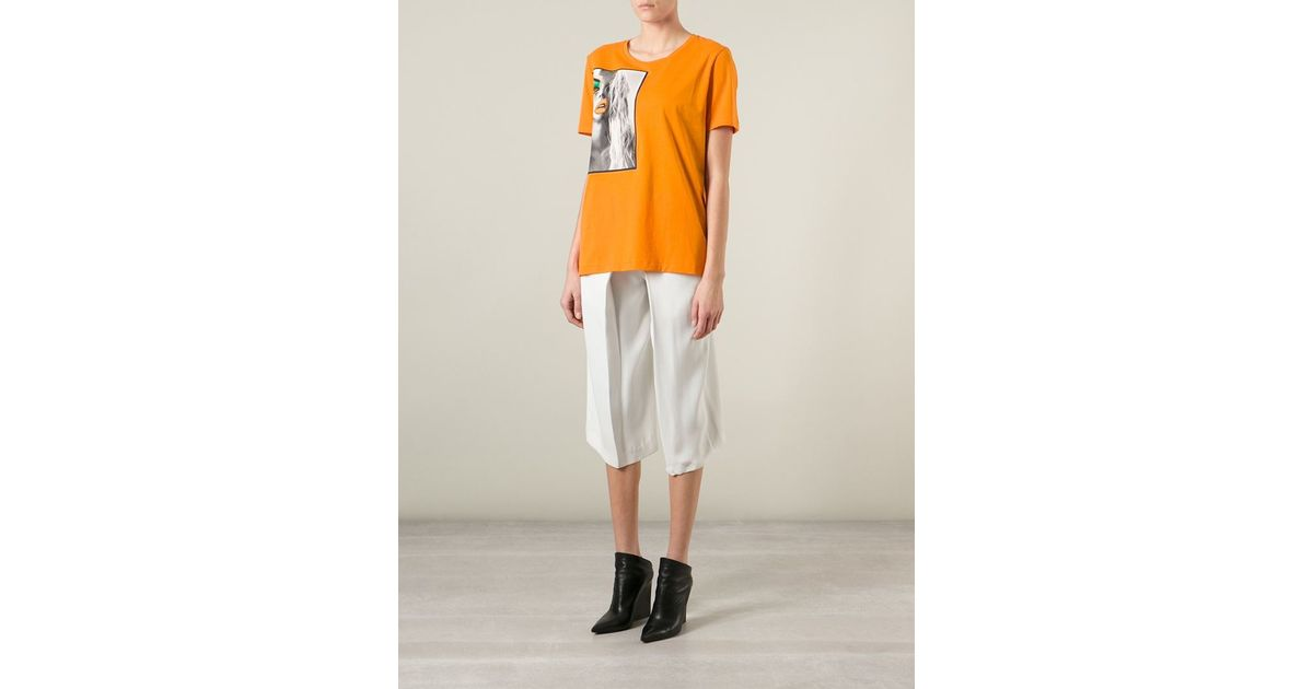 Lyst acne studios 39 vista 39 portrait print t shirt in orange for Vista print tee shirt