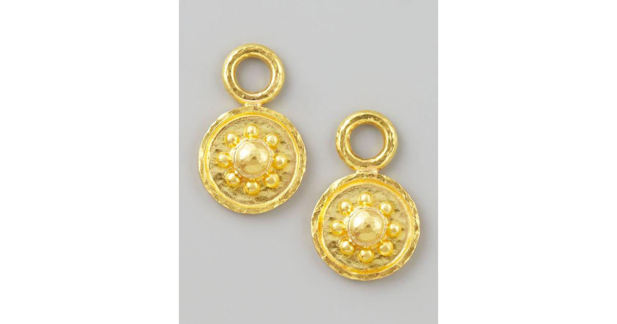 Elizabeth Locke 19k Gold Daisy Disc Earring Pendants uHwEBfHzTo