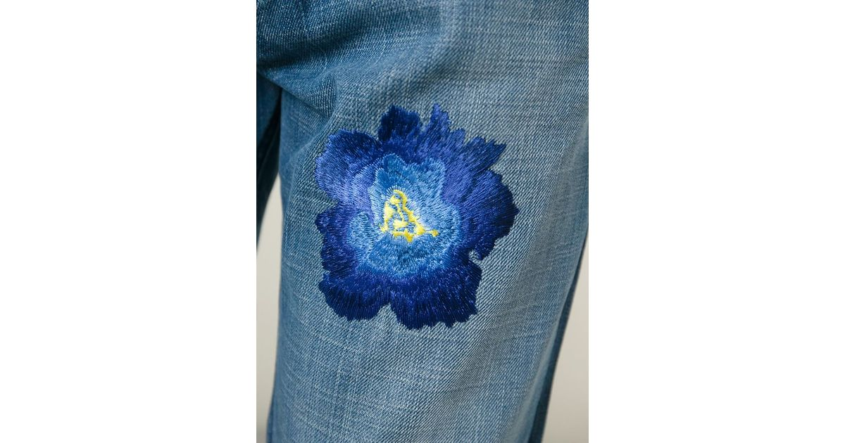 Christian pellizzari flower embroidery jeans in blue for men lyst ccuart Images