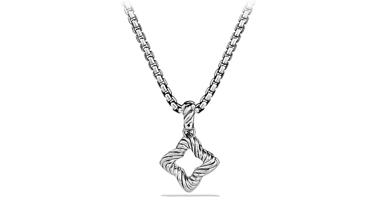 Lyst david yurman quatrefoil pendant with diamonds in metallic aloadofball Choice Image