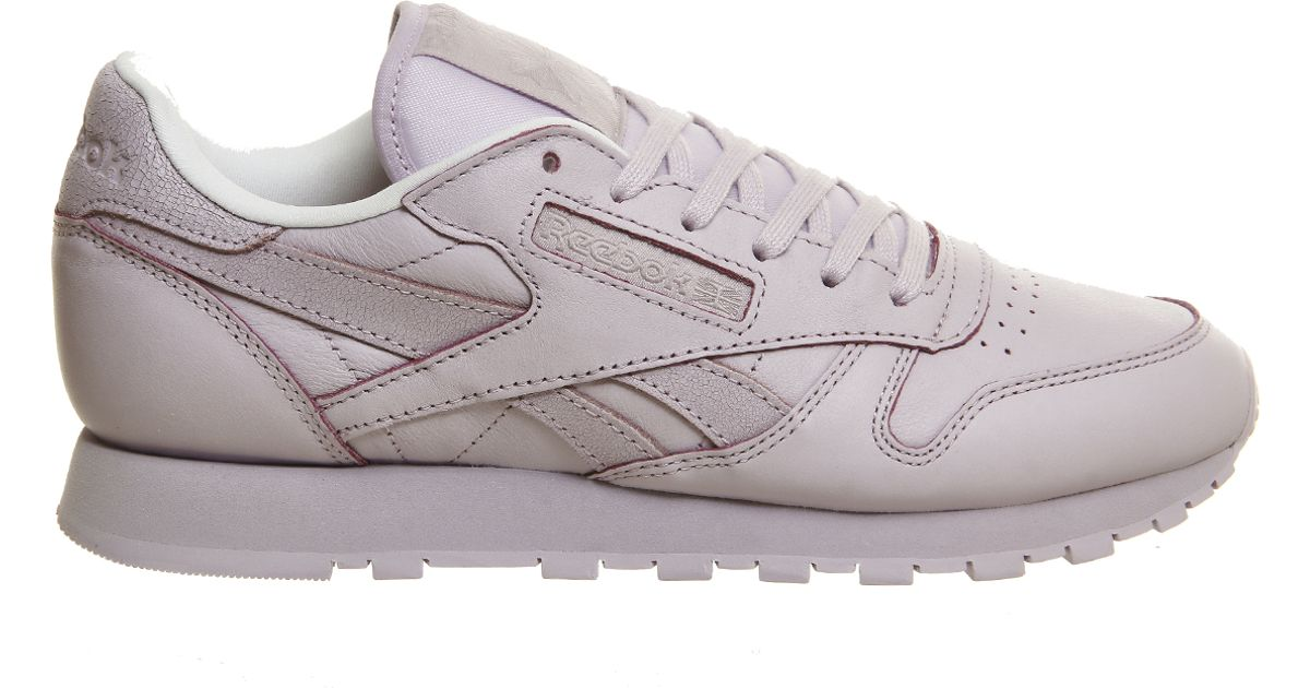 reebok classic leather in white lilac lyst. Black Bedroom Furniture Sets. Home Design Ideas