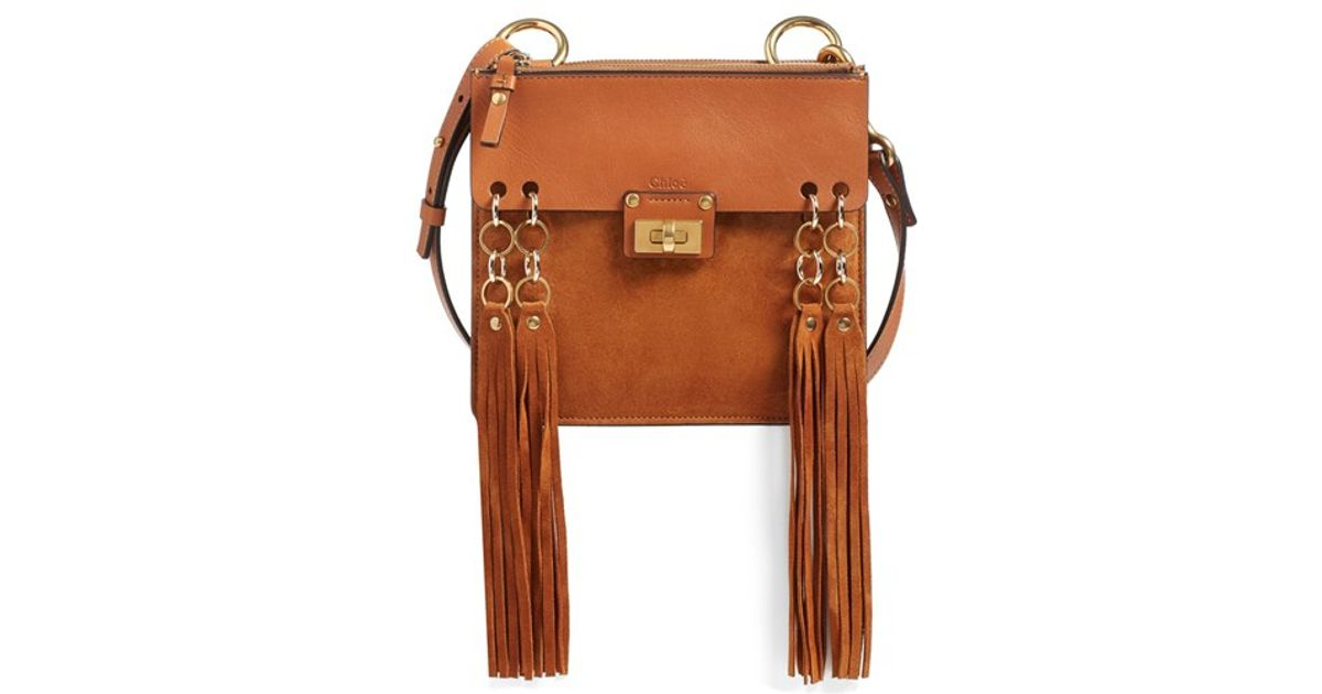 Chlo�� \u0026#39;small Jane\u0026#39; Tassel Suede \u0026amp; Leather Crossbody Bag in Brown ...