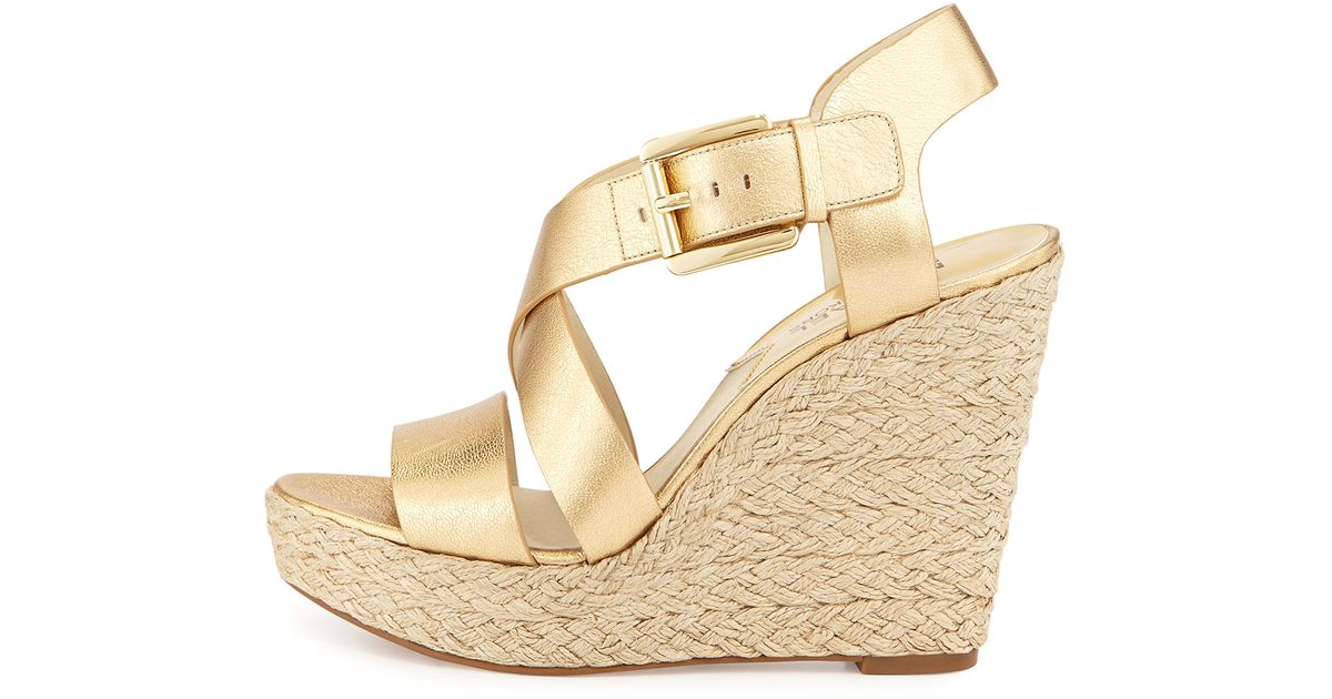 9ec8958e15a MICHAEL Michael Kors - Metallic Giovanna Leather Espadrille Wedge - Lyst