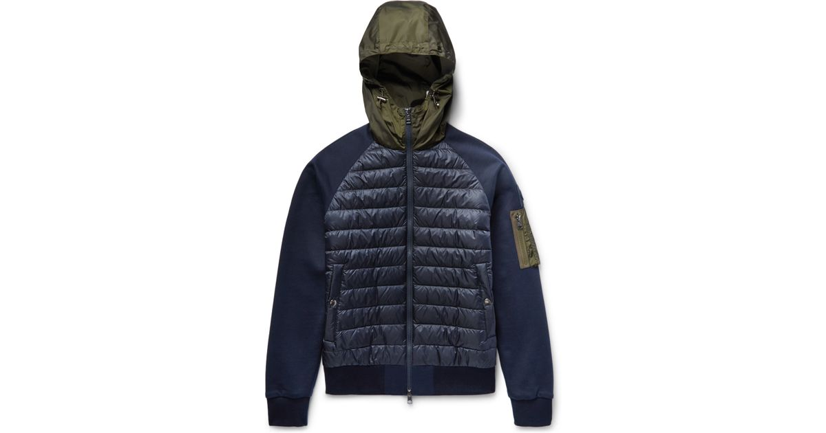Moncler Shell And Loopback Cotton-jersey Hooded Down Jacket in Blue for Men  - Lyst ed69bd447d1