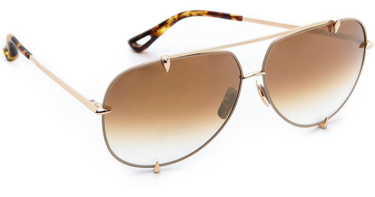 776d6182af0 Lyst - DITA Talon Sunglasses - Satin Tan Gold Brown To Clear in Metallic