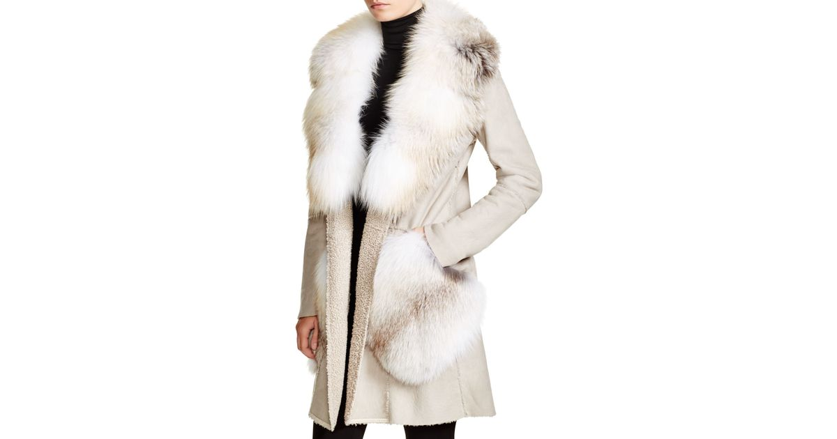 Maximilian Dennis Basso For Fox Fur Trim Shearling Coat in White