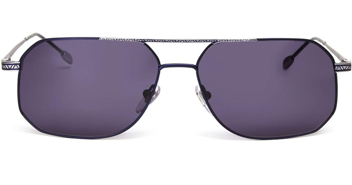 2fd78327bc Lyst - John Varvatos Navy Aviator Sunglasses in Purple for Men