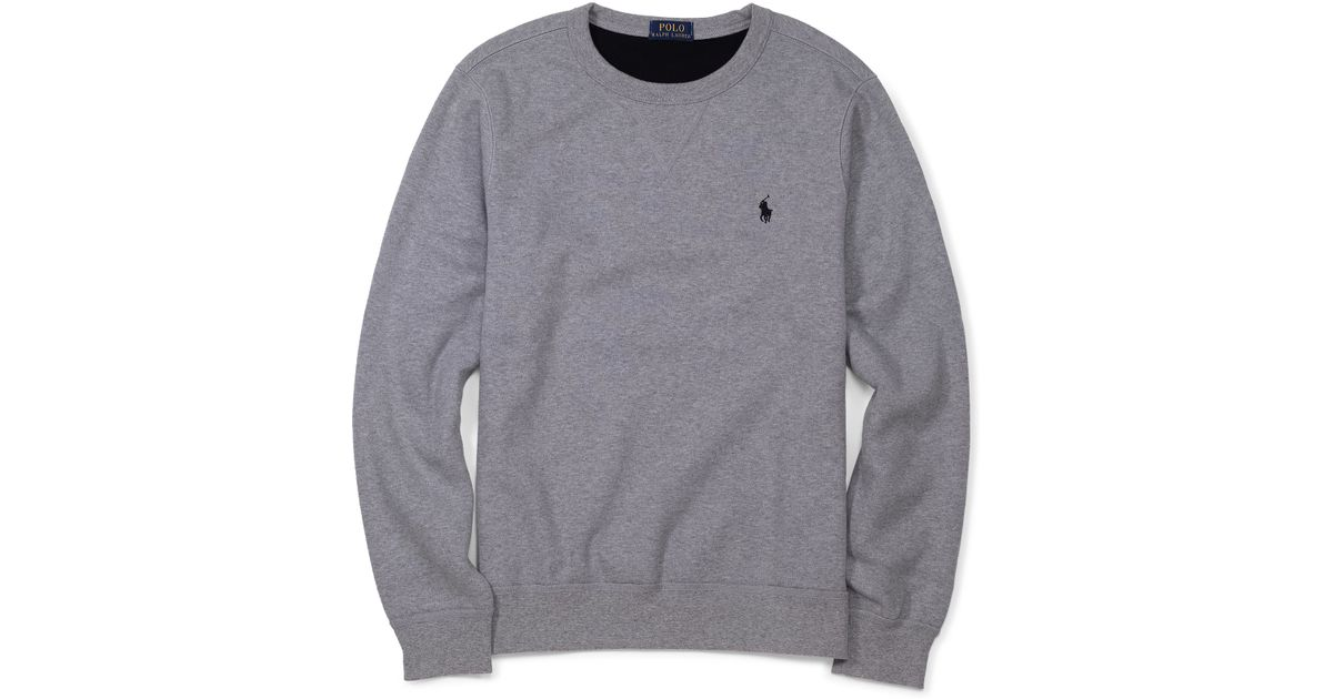Polo ralph lauren Fleece Crewneck Sweatshirt in Gray for Men | Lyst